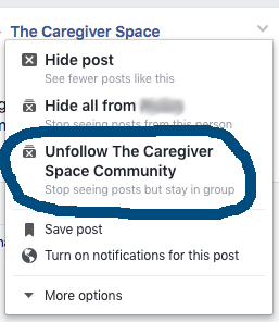 how to unfollow a facebook group