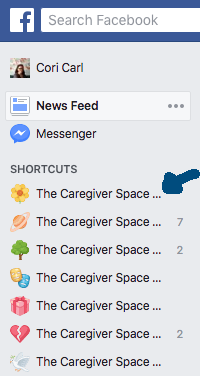 facebook group in shortcuts menu