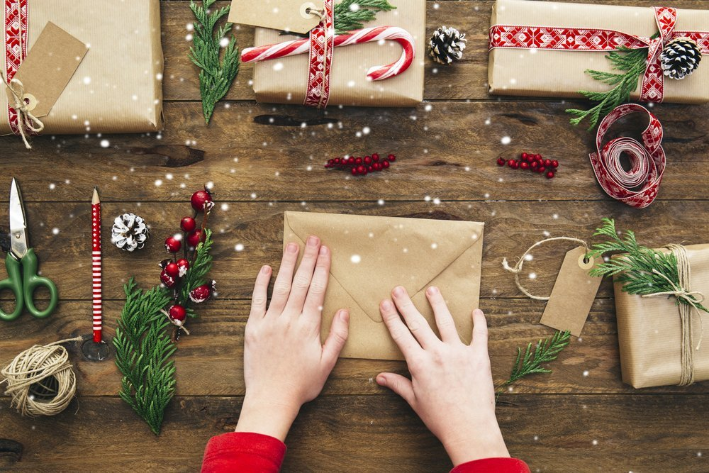 writing, addressing, and mailing christmas cards