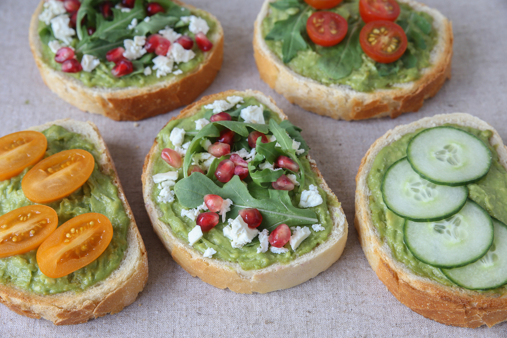 sourdough bread with avocado and veggies